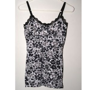 Gray, black and white floral cami with lace trim